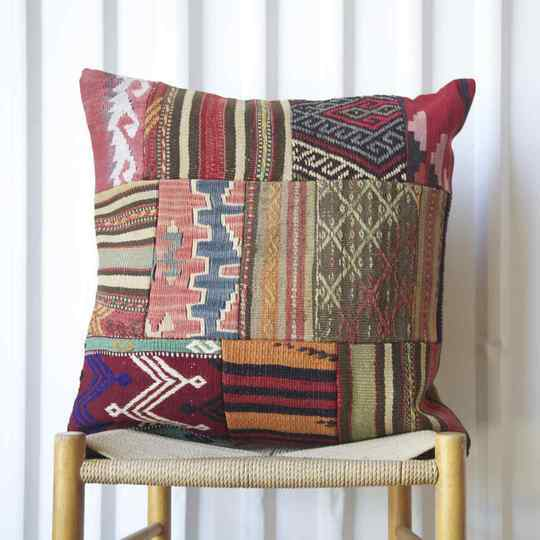 Patchwork Antique Rug Fragment Cushions 60x60cm