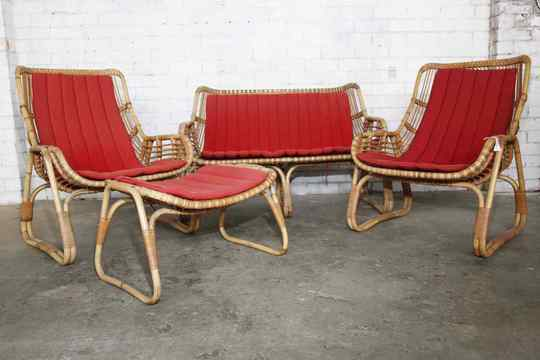 1960's Scandinavian Bamboo Outdoor Setting